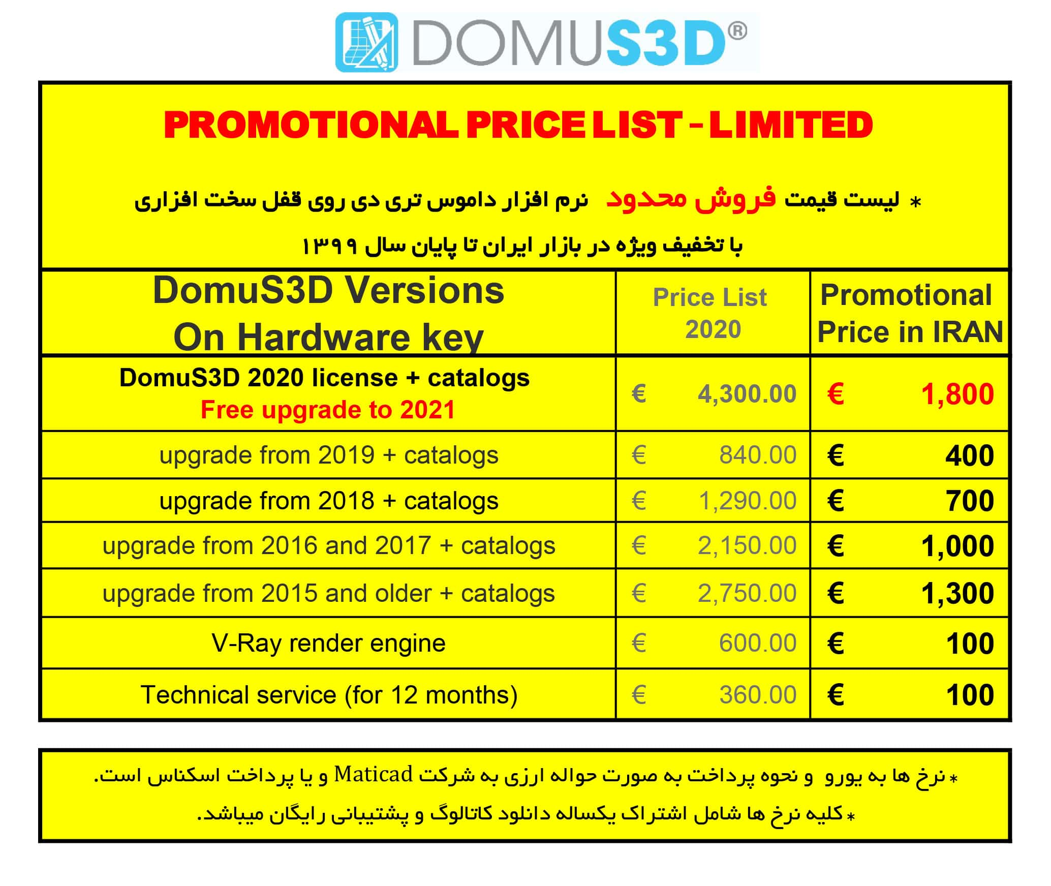 Domus3D Price list 2020 SALE LIMITED min