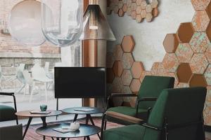 تركيب سفال و شیشه در مجموعه جدید Exagon از SanMarco