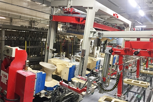 دستگاه جدید Sacmi AVE040 Plus در کارخانه Cersanit Russia در حال کار است